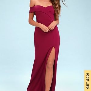 Lulus off the shoulder maxi dress